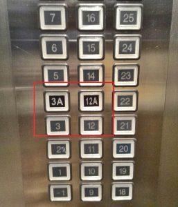 Thang máy không có số 13 và số 4