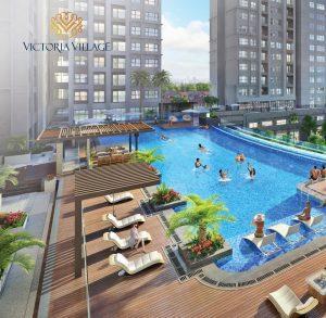 Phối cảnh hồ bơi tầng 3 khu căn hộ cao cấp Victoria Village đường Trương Văn Bang quận 2